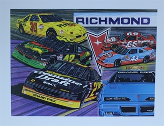 "1991 "" Pontiac Excitement "" Sam Bass Print 19.5""  X 25.5"" 1991 "" Pontiac Excitement "" Sam Bass Print 19.5""  X 25.5"""