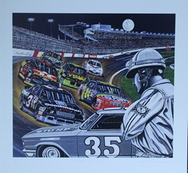 "1994 Charlotte Motor Speedway "" Outside The Fire!"" Sam Bass Artist Proof Print 25"" X 26"" 1994 Charlotte Motor Speedway "" Outside The Fire!"" Sam Bass Artist Proof Print 25"" X 26"""