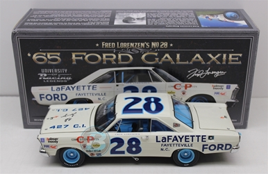 Fred Lorenzen Autographed #28 LaFayette Ford 1965 Ford Galaxie 1:24 University of Racing Nascar Diecast Fred Lorenzen nascar diecast, diecast collectibles, nascar collectibles, nascar apparel, diecast cars, die-cast, racing collectibles, nascar die cast, lionel nascar, lionel diecast, action diecast, university of racing diecast, nhra diecast, nhra die cast, racing collectibles, historical diecast, nascar hat, nascar jacket, nascar shirt,historical racing die cast