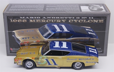 Mario Andretti Autographed #11 Bunnell Motor Co. 1968 Mercury Cyclone 1:24 University of Racing Nascar Diecast Mario Andretti nascar diecast, diecast collectibles, nascar collectibles, nascar apparel, diecast cars, die-cast, racing collectibles, nascar die cast, lionel nascar, lionel diecast, action diecast, university of racing diecast, nhra diecast, nhra die cast, racing collectibles, historical diecast, nascar hat, nascar jacket, nascar shirt,historical racing die cast