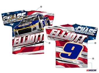 *Preorder* Chase Elliott NAPA Sublimated Patriotic Total Print Adult Tee Chase Elliott, shirt, tee, Checkered Flag Sports