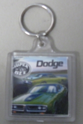 Super Bee Green Dodge Plastic Key Chain Red and Green Dodge Daytona Plastic Key Chain